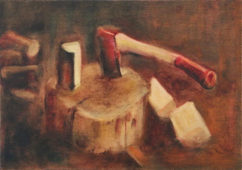 'chop' - oil on wood 42x30cm