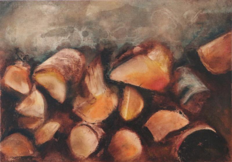 'cumulate' - oil on wood 42cmx30cm